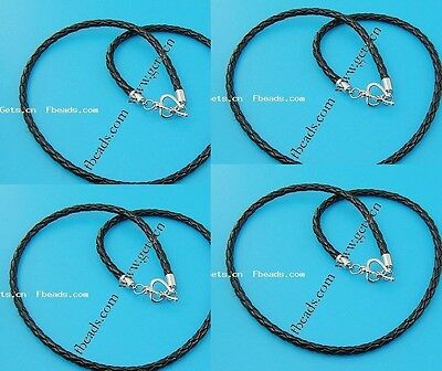 3mm 45CM Braided PU Leather Chain Necklace Stainless Steel Clasp