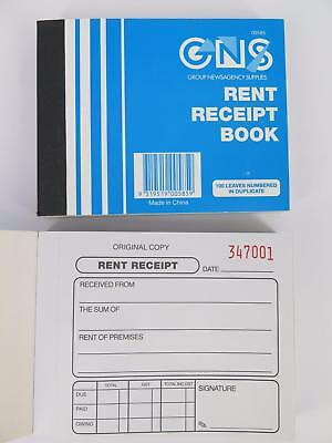 GNS Rent Receipt Book Duplicate 125x100mm 100 Leaf 00585**