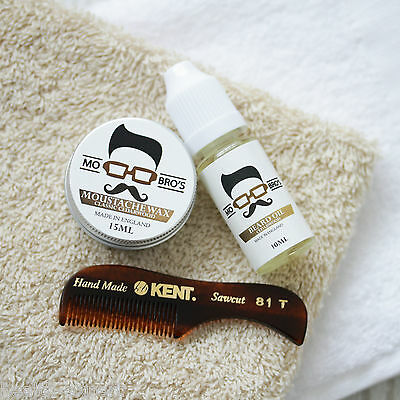Mo Bro's Gift Pack - Cedarwood Moustache Wax, Beard Oil & Kent 81T Beard Comb