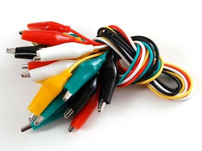 "10pc Test Lead Double Ended Crocodile Alligator Jumper Probe Wire 20"" Electrical"