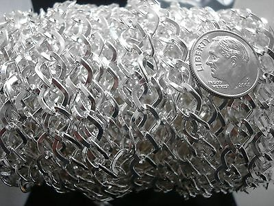 3 ft Silver plated cable chain 8x7mm diamond twist 4 open links inch pch017
