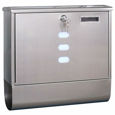 Stainless Steel Post Box Newspaper Holder Mail Letter Wall Lock By Home Discount