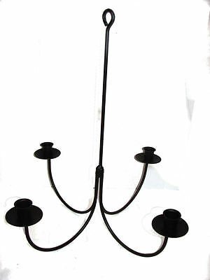 Black Wrought Iron 4 Arm Candle Chandelier USA Amish Made Farmhouse Hand Forged