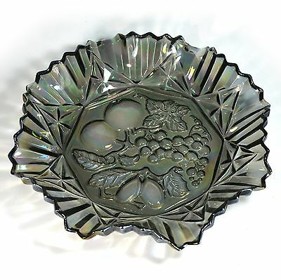 Federal Glass Co Pioneer Carnival Iridescent Fruit Pattern Smoke Colored Platter