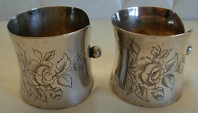 PAIR OF ANTIQUE GERMAN 800 SILVER HAND ENGRAVED NAPKIN RINGS BY HUGO BOHM-51.8 g