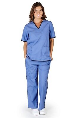 Medical Nursing Scrubs NATURAL UNIFORMS Contrast Trim Sets XS-3XL Scrubs SH505