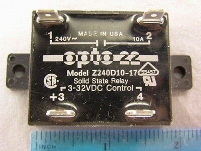2 Opto 22 Z240D10-17 Solid State Relays Control 3-32VDC Out 240VAC 10A