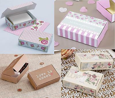10 Cake Boxes - Vintage Wedding Candy Bar Party Favour Pink Rose Stripe Retro
