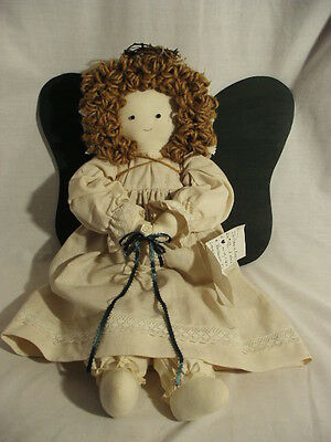 Large Hand Made Angel Doll with Pantaloons and Wooden Wings - Dated & Numbered