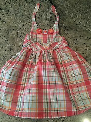 GYMBOREE TODDLER GIRL PLAID KNIT FLOWERS DRESS SIZE 2T MATCHING DIAPER COVER
