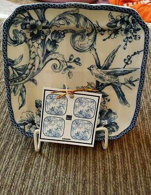 222 FIFTH ADELAIDE Blue Set of 4 Square PLATES Toile APPETIZER Snack Dishes