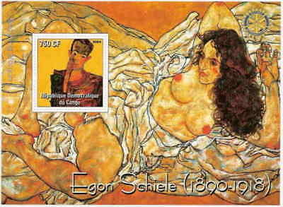 Egon Schiele Paintings on Stamps -  Stamp Souvenir Sheet 9830