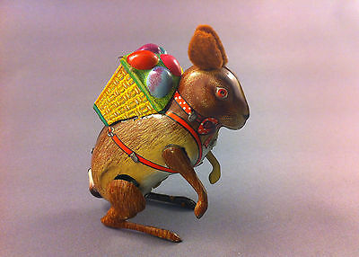 Vintage US ZONE Germany D.R.G.M. wind-up Tin Toy Easter Bunny Rabbit