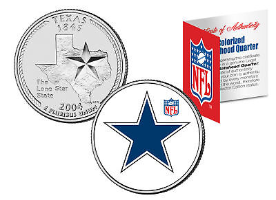 DALLAS COWBOYS Retro Logo Texas Quarter Colorized US Coin Football NFL LICENSED