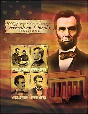 Gambia - Abraham Lincoln Mint Sheet of 4 GAM0818