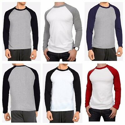 Men's Long Sleeve T-shirt Baseball Raglan Casual Workout Fashion Crew Neck Tee