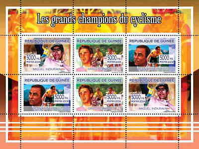 Guinea - Cycling Champions on Stamps - 6 Stamp  Sheet 7B-489