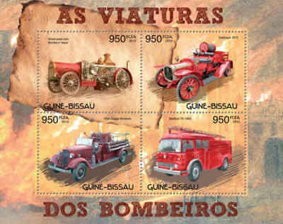Guinea Bissau - Fire Engines - 4 Stamp Sheet - GB12617a