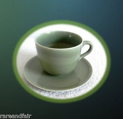 Rookwood art pottery oversize cup and saucer, green - ca 1936 - FREE SHIPPING