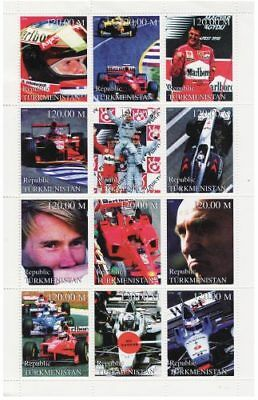 Formula 1 Auto Racing on Stamps - 12 Stamp  Sheet  - 20D-069