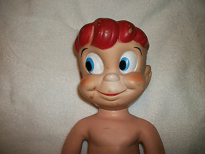 """1960s Vinyl Plastic 18"""" Boy Doll with Red Hair & Frickles, make unknown, L@@K"""