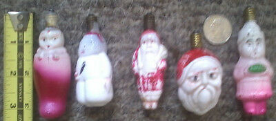 antique xmas 5 different milk glas xmas bulbs baby in stocking, girl, snowman