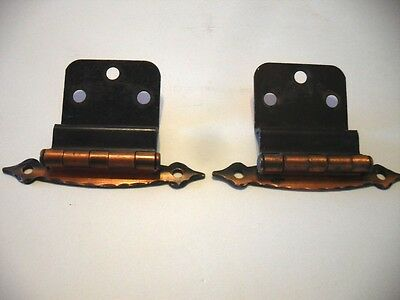 "Vtg COPPER FLASH Plated Japanned HINGES  for 3/8"" Inset Cabinet Doors Art Deco"