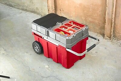 Portable Storage Cart Sliding Tools Box Rolling Holds Work Building Contractor
