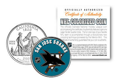 SAN JOSE SHARKS NHL Hockey California Statehood Quarter Colorized Coin LICENSED