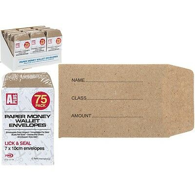 80 x Small Brown Paper Money Wallet Envelopes School Lunch Money Wage 7x10cm