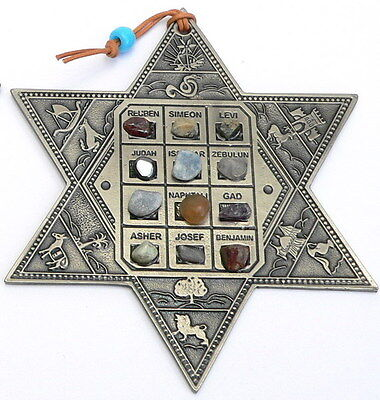 Star of David Wall Decor-English-Israel Jewish 12 Twelve Tribes Hoshen GemStones