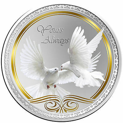 Yours Always Doves Round Coloured Proof Tokelau Coin