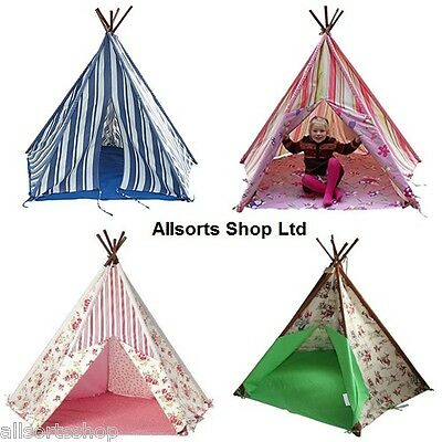 New Tobs Wigwam Teepee Tent. Cowboy, Floral, Blue Stripe, Pink Fairy Princess