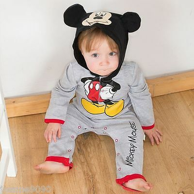 Baby Toddler Disney Mickey Mouse Jersey Hooded Romper Fancy Dress Costume Outfit