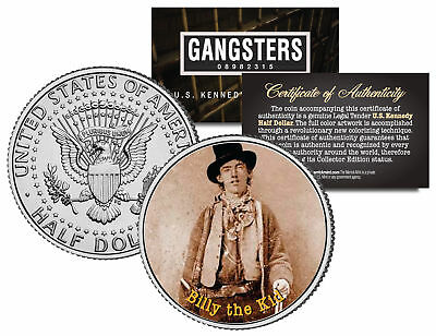 BILLY THE KID Old West Outlaw JFK Kennedy Half Dollar US Colorized Coin