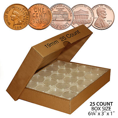 PENNY Direct-Fit Airtight 19mm Coin Capsule Holders For PENNIES (QTY: 25)
