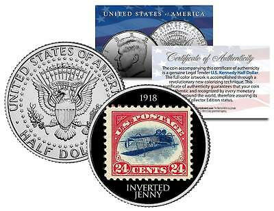 INVERTED JENNY 1918 STAMP Colorized JFK Half Dollar US Coin Upside Down Airplane