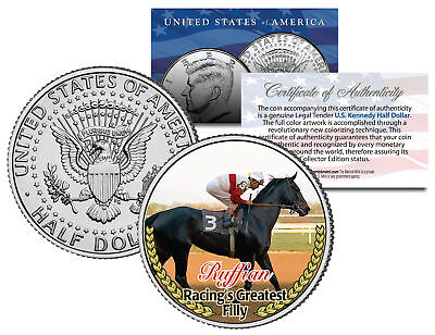 RUFFIAN * Racing's Greatest Filly * Racehorse Colorized JFK Half Dollar US Coin
