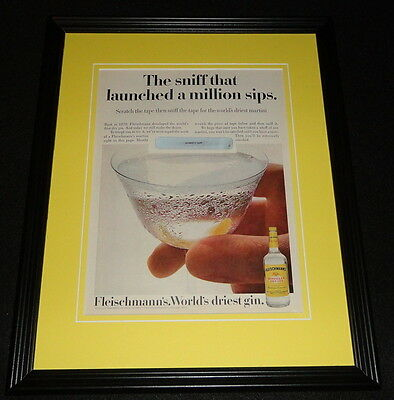1972 Fleischmann's Gin Framed 11x14 ORIGINAL Vintage Advertisement