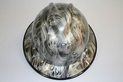 New Custom MSA V-Gard (Full Brim) Hard Hat W/Fas-Trac Ratchet Three Evil