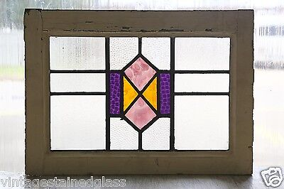 Antique Stained Glass Window Three Color Diamond Art Deco       (2850)