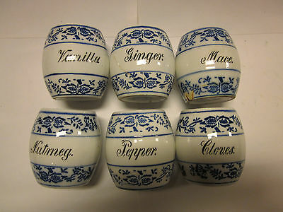 """Set of 6 Small 3"""" GMT German Flow Blue Onion Pattern Spice Canisters + Lids"""