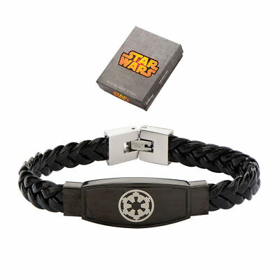 Star Wars Galactic Empire Symbol Stainless Steel and Braided Leather Bracelet