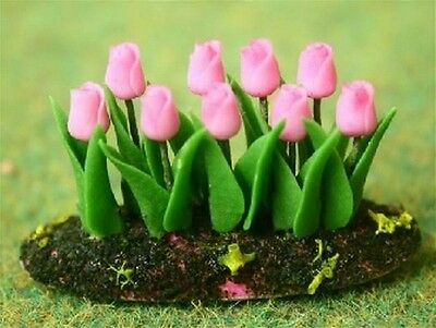 Pink Tulips In Earth, Dolls House Miniature Gardens 1.12 Scale