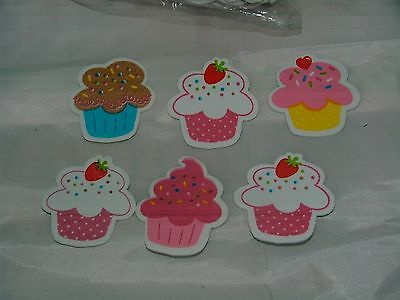 """150 Assorted Cupcake Foam Stickers For Crafts or Scrapbook-1 3/8"""" High-Brand New"""