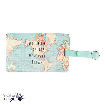 Vintage Time To Go World Map Atlas Luggage Tag Label & Strap Travel Holiday Gift