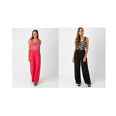 Womens Ladies New Sleeveless Party Sequin Wide Leg/Palazzo Jumpsuit (Sizes8 -16)