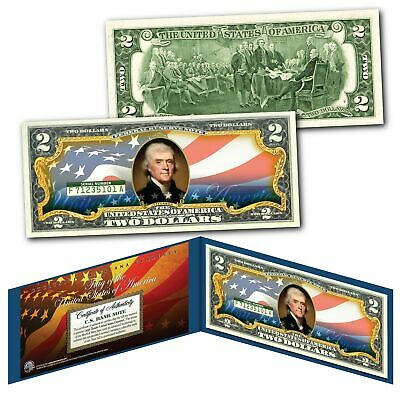 "United States of America Flag ""New Design"" Legal Tender $2 Bill FULLY COLORIZED"