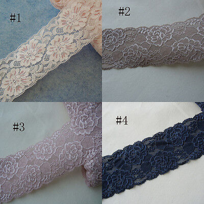 """2 Yards 3"""" Wide Stretchy Lace Baby Pink, Taupe, Pale Pinkish Grey, Black G2"""