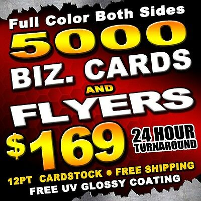 5000 Business Cards and 5000 Flyers 4x6 Full Color + UV Gloss + 24HR TURNAROUND